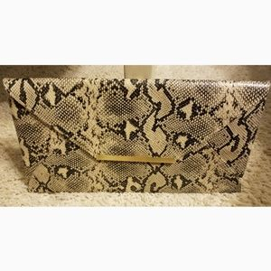 Handbags - Faux Snake Skin Envelope Clutch